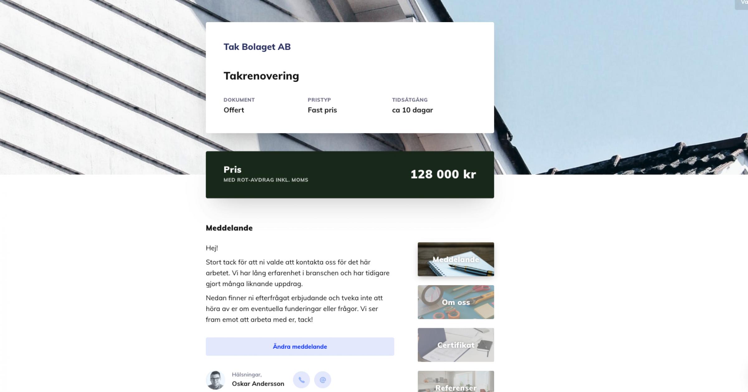 Offert- & avtalsmall för takbranschen
